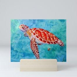 Sea turtle and friend Mini Art Print