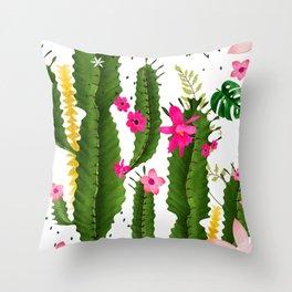 pink desert flowers Throw Pillow