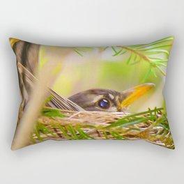 Baby Robin Bird Rectangular Pillow