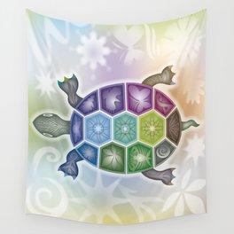 Fine Tattooed Turtle Wall Tapestry