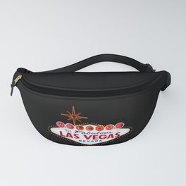 Vintage Welcome to Fabulous Las Vegas Nevada Sign on dark background Fanny Pack