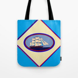 A Nautical Scene with Clipper Ship with Sky Blue Background Tote Bag