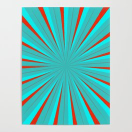 Sparkle Neon Aqua Turquoise Red Poster