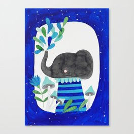 elephant with raindrops in blue watercolor illustration Canvas Print