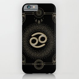 Golden zodiac cancer sign iPhone Case