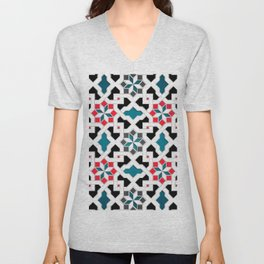 Oriental Pattern - Geometric Design, red / blue / grey Unisex V-Neck
