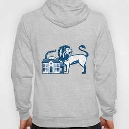 Angry Lion Paw on House Isolated Retro Hoody