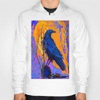 blankets Hoodies featuring Blue Raven Orange Moon Night Art by SharlesArt