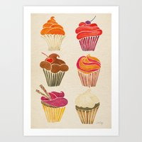 cupcakes Art Prints featuring Cupcakes by Cat Coquillette