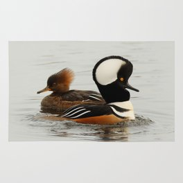 A Tale of Two Hooded Mergansers Rug