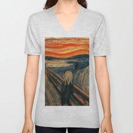 The Scream by Edvard Munch Unisex V-Neck