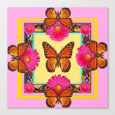 Fuchsia Daisies & Orange Monarch Butterflies Patterns Art Canvas Print