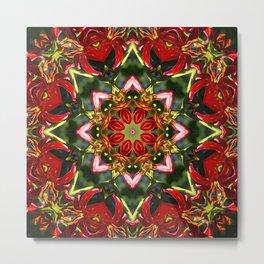 Red lily, blue sky and evergreen mandala III Metal Print