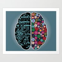 brain waves Art Prints featuring Brain by BlueLela