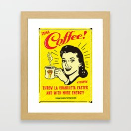 Chancleta & Coffee Framed Art Print
