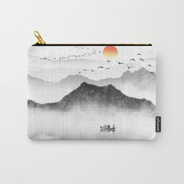 Japanese ink painting - Mountains By the Lake Carry-All Pouch