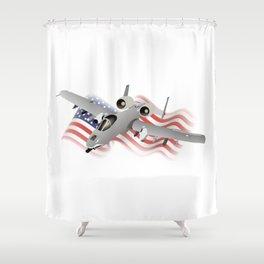 American A-10 Warthog Jet Aircraft Shower Curtain