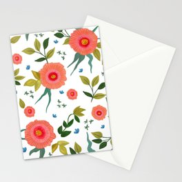 Pink Poppy Watercolor flowers, all-over repeat design, poppies. Stationery Cards