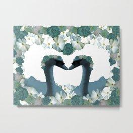 Kissing Swans Teal White Flowers Heart Shape Metal Print