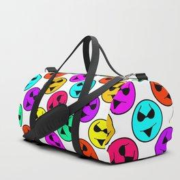 Smiley Bikini Bright Neon Smiles on White Duffle Bag