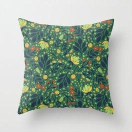 Teal, Pale Green, Dark Blue, Yellow & Orange Floral Pattern Throw Pillow
