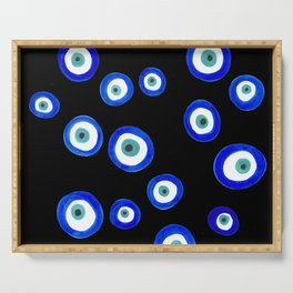 Scattered Evil Eyes on Black Serving Tray