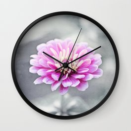 Pink Grey Flower Photography, Zinnia Floral Gray Nature Flowers Wall Clock