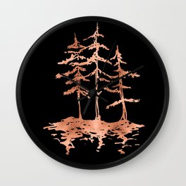 THE THREE SISTERS Trees Rose Gold Wall Clock
