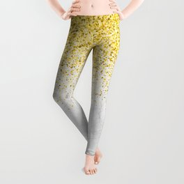 Gold Glitter and Grey Marble texture Leggings