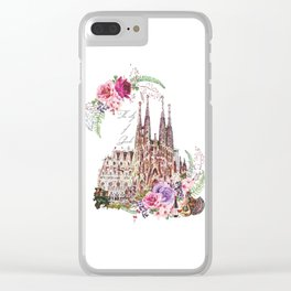 Barcelona Spain La Sagrada Familia Vintage Clear iPhone Case