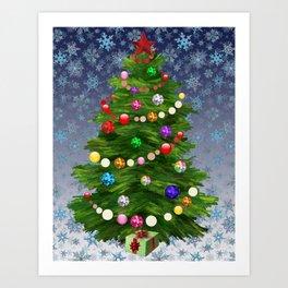 Christmas tree & snow v.2 Art Print