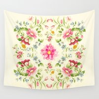 folk Wall Tapestries featuring folk floral by clemm
