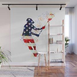 Girl Lacrosse Art American Flag Colorful Watercolor Sports Art Wall Mural