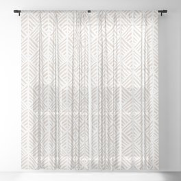 Abstract Leaf Pattern in Tan Sheer Curtain