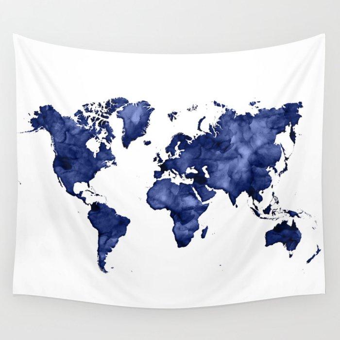 Dark Navy Blue Watercolor World Map Wall Tapestry By Blursbyaishop