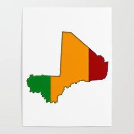 Mali Map with Malian Flag 2 Poster