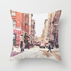New York City Snow in Soho Throw Pillow