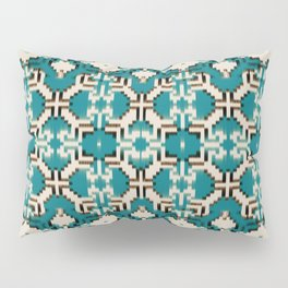ikat geo mix patched in teal Pillow Sham
