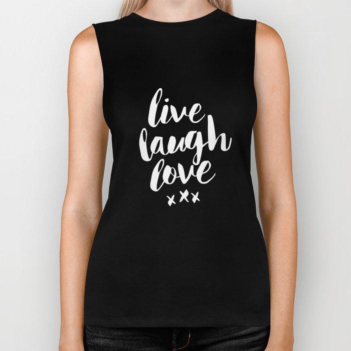 Live Laugh Love black and white monochrome typography poster design home wall decor canvas Biker Tank