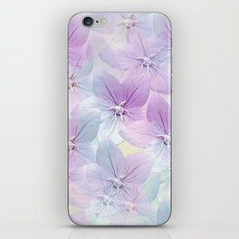 Painterly flower field in blue and pink iPhone Skin