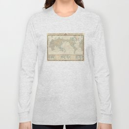 Vintage Map of The World (1862) Long Sleeve T-shirt