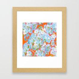 CUMIN ORANGE COLOR & WHITE LACE FLORAL GARDEN Framed Art Print