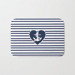 Modern navy blue white heart anchor nautical stripes Bath Mat