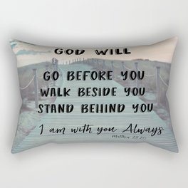 I Am with you Always Bible Verse with Quote Rectangular Pillow