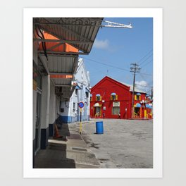 A red warehouse Art Print