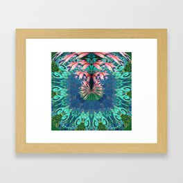 Lush Floral Abstract in Aqua, Moss and Light Coral Framed Art Print