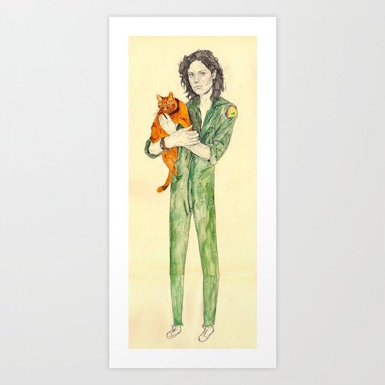 Ellen Ripley with Jones | Alien Art Print