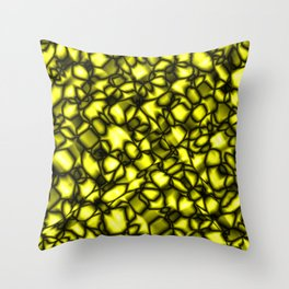 Bright bubbly solar surface of glass spherical molecules on black metal.  Throw Pillow