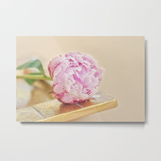 PEONY WITH GOLD Metal Print