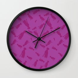 PINK WEIMARANERS SITTING Wall Clock